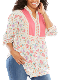 Woman Within PINK Multi Print Long Sleeve Blouse - Plus Size 18/20 to 42/44 (Medium to 5X)
