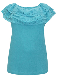 Roamans PACIFIC-BLUE Broderie Anglaise Frill Bardot Top - Plus Size 14/16 to 38/40 (Medium to 5X)
