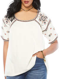 Roamans CREAM Embroidered Peasant Tee - Size 10/12 to 34/36 (Small to 4X)