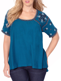 Roamans TEAL Embroidered Peasant Tee - Size 14/16 to 34/36 (Medium to 4X)