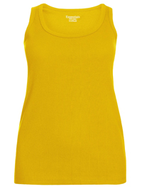 3vans MUSTARD Pure Cotton Ribbed Sleeveless Vest - Plus Size 14 to 30/32