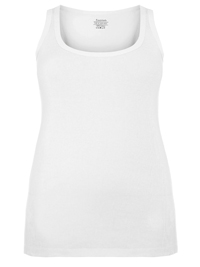3vans WHITE Pure Cotton Ribbed Sleeveless Vest - Plus Size 14 to 30/32
