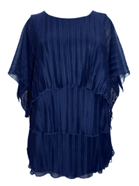 C&A NAVY Pleated Layered Short Sleeve Top - Size 10/12 to 30/32 (36/38 to 56/58)