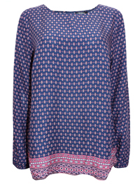 Gina BEN0TTI NAVY Border Print Long Sleeve Patterned Blouse - Plus Size 16 to 20 (EU 42 to 46)