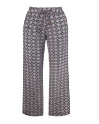 Anthology BLACK Baroque Print Linen Blend Trousers - Size 12 to 32 (Length 25in)