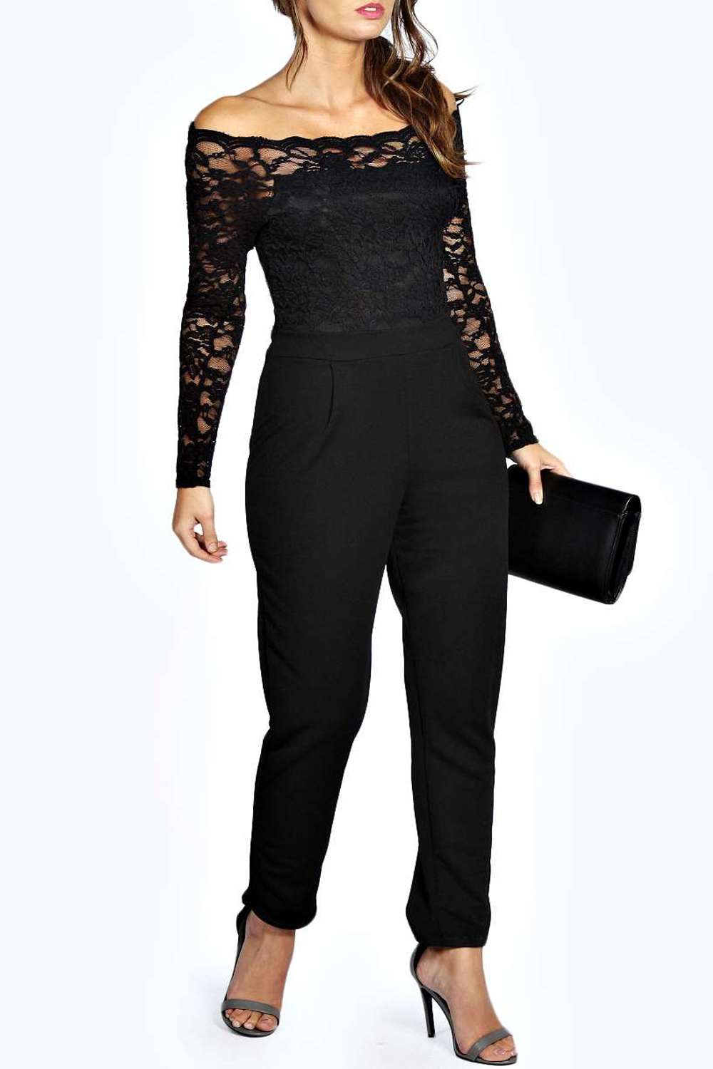 a4c10b89ed1e BOOHOO - - Boohoo Emily BLACK Scallop Lace Off-Shoulder Jumpsuit - Size 8  to 14