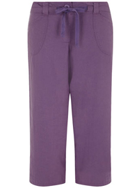 3vans PURPLE Linen Blend Cropped Drawstring Trousers - Plus Size 14 to 32