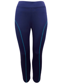 3vans NAVY Contrast Seam Sports Leggings - Plus Size 14 to 32