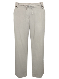 N3xt Parallel SAND Linen Blend Drawstring Waist Trousers - Plus Size 26 to 36