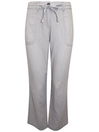 N3xt Parallel GREY Linen Blend Drawstring Waist Trousers - Size 8 to 36