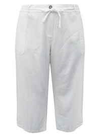 N3xt Parallel WHITE Linen Blend Cropped Trousers - Plus Size 24 to 28