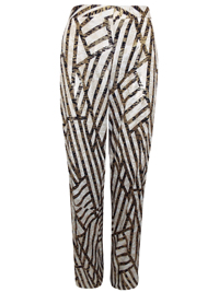 VLabel IVORY Brompton Metallic Printed Trousers - Size 4 to 14