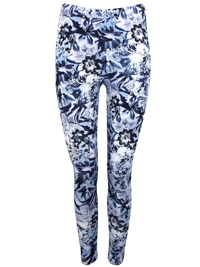 INPShop BLUE Floral Print Full Length Leggings - Plus Size 16 to 30/32