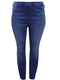 H&M DENIM-BLUE Super Slim Pull On Jeggings - Plus Size 14 to 26