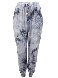 Amparo GREY Tie Dye Pull On Harem Trousers - FreeSize Fits 12-14-16