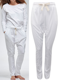 Cloth&Co WHITE Organic Cotton Lounge Pants - Size 10 to 16 (XSmall to Large)