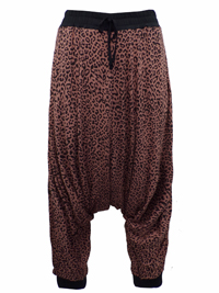 Ivans BROWN Pure Cotton Animal Print Harem Trousers - Plus Size 16 to 30/32