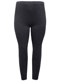 RedTag CHARCOAL Melange Cotton Rich Opaque Full Length Leggings - Plus Size 18 to 26