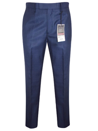Jack Reid Mens NAVY Tailored Fit Flat Front Trousers - Waist Size 32 to 44 (Short-Regular-Long)
