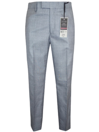 Jack Reid Mens GREY Checked Tailored Fit Flat Front Trousers - Waist Size 32 to 44 (Short-Regular-Long)