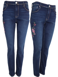 R Jeans DENIM Embroidered Slim Leg Jeans - Size 8 to 22