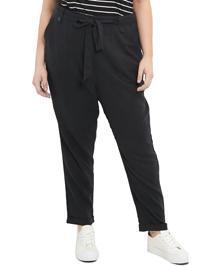 N3w L00k Curve BLACK Belted Cotton Trousers - Plus Size 18 to 28
