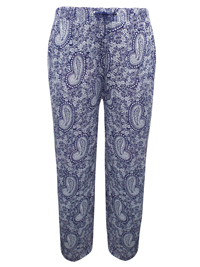 P3acocks NAVY Paisley Print Drawstring Waist Trousers - Plus Size 18 to 22