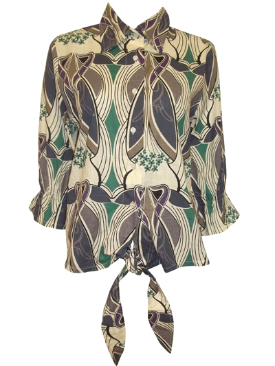 MINT Mix Abstract Print Tie Front Cotton Shirt - UK Size 10 to 18 (Small to XXLarge)